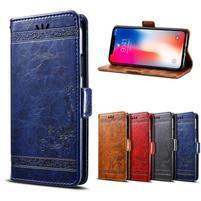Wax PU kožené flipové puzdro na mobil Honor Play - modré