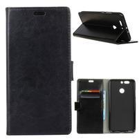 Standy PU kožené puzdro na HTC Desire 12 Plus - čierne