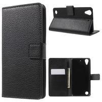 Peňaženkové PU kožené puzdro pre HTC Desire 530 a Desire 630 - čierné