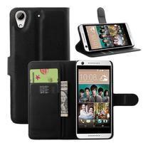 Leathy PU kožené puzdro pre mobil HTC Desire 650 - čierné