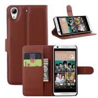 Leathy PU kožené puzdro pre mobil HTC Desire 650 - hnedé