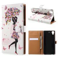 Emotive knížkové puzdro pre mobil HTC Desire 650 - kvetinová dívka
