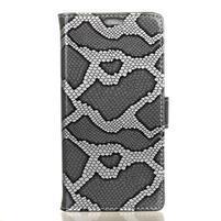 SnakeŠtýle PU kožené peňaženkové puzdro pre HTC One A9s - sivé