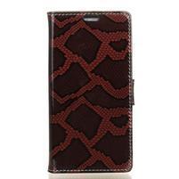 SnakeŠtýle PU kožené peňaženkové puzdro pre HTC One A9s - červené