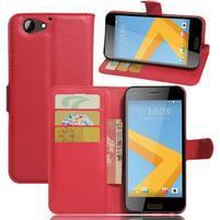 Graines PU kožené puzdro pre HTC One A9s - červené