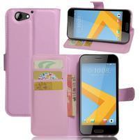 Graines PU kožené puzdro pre HTC One A9s - ružové
