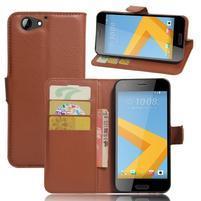 Graines PU kožené puzdro pre HTC One A9s - hnedé