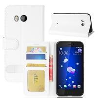 Crazy PU kožené peňaženkové puzdro na mobil HTC U11 - biele