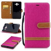 Jeany PU  kožené/textilné puzdro na Huawei Mate 10 - magenta