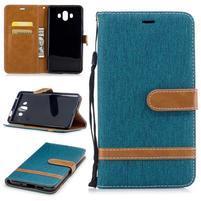Jeany PU  kožené/textilné puzdro na Huawei Mate 10 - zelenomodré