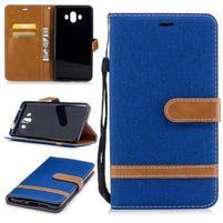 Jeany PU  kožené/textilné puzdro na Huawei Mate 10 - modré