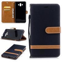 Jeany PU  kožené/textilné puzdro na Huawei Mate 10 - čierne