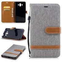 Jeany PU  kožené/textilné puzdro na Huawei Mate 10 - sivé