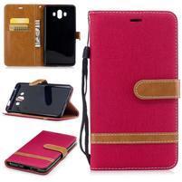 Jeany PU  kožené/textilné puzdro na Huawei Mate 10 - červené