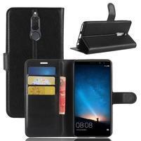Skiny PU kožené peňaženkové puzdro na Huawei Mate 10 Lite - čierne