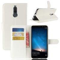 Skiny PU kožené peňaženkové puzdro na Huawei Mate 10 Lite - biele