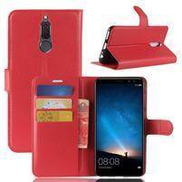 Skiny PU kožené peňaženkové puzdro na Huawei Mate 10 Lite - červené