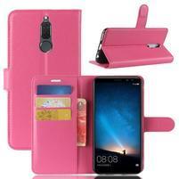 Skiny PU kožené peňaženkové puzdro na Huawei Mate 10 Lite - rose