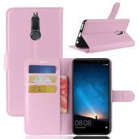 Skiny PU kožené peňaženkové puzdro na Huawei Mate 10 Lite - ružové