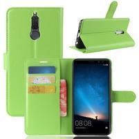 Skiny PU kožené peňaženkové puzdro na Huawei Mate 10 Lite - zelené