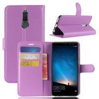 Skiny PU kožené peňaženkové puzdro na Huawei Mate 10 Lite - fialové