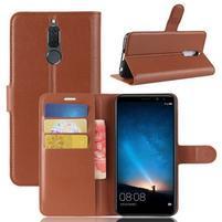 Skiny PU kožené peňaženkové puzdro na Huawei Mate 10 Lite - hnedé