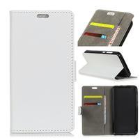 Standy PU kožené zapínacie puzdro na Huawei Mate 10 Lite - biele