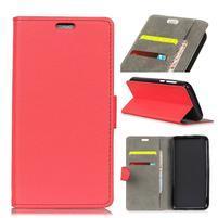 Standy PU kožené zapínacie puzdro na Huawei Mate 10 Lite - červené