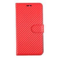 Carbo PU kožené puzdro na Huawei Mate 9 - červené