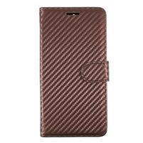 Carbo PU kožené puzdro na Huawei Mate 9 - hnedé