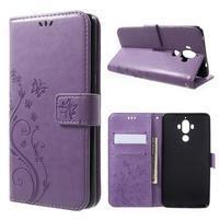 Butterfly PU kožené knižkové puzdro na Huawei Mate 9 - fialové