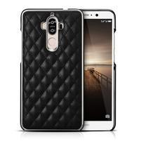 Grid PU kožený/plastový obal na Huawei Mate 9 - čierny