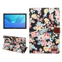Cloth PU kožené puzdro na Huawei MediaPad M5 10 - čierne