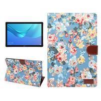 Cloth PU kožené puzdro na Huawei MediaPad M5 10 - modré