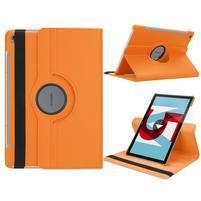 Litchi PU kožené puzdro na Huawei MediaPad M5 10 - oranžové
