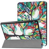 Patty PU kožené zapínacie puzdro na Huawei MediaPad T3 10 - malovaný strom