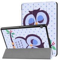 Patty PU kožené zapínacie puzdro na Huawei MediaPad T3 10 - sova