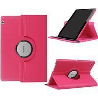 Otočné PU kožené puzdro na Huawei MediaPad T3 10- rose
