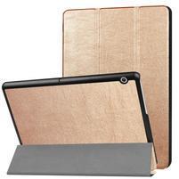 Trifold PU kožené puzdro na tablet Huawei MediaPad T3 10- zlaté