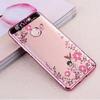 Flower gélový obal s kamínky na Huawei Nova - ružovozlatý