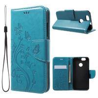 ButterFly PU kožené puzdro na mobil Huawei Nova - modré