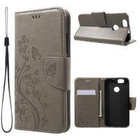 ButterFly PU kožené puzdro na mobil Huawei Nova - sivé