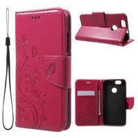 ButterFly PU kožené puzdro na mobil Huawei Nova - rose