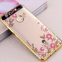 Flower gélový obal s kamínky na Huawei Nova - zlatý