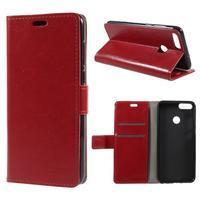 Crazy PU kožené puzdro na Huawei P Smart - černevné