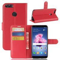 Wallet PU kožené puzdro na Huawei P Smart - červené