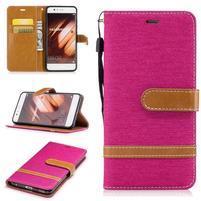 Jeany textilné/PU kožené puzdro na Huawei P10 - rose