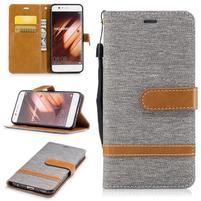 Jeany textilné/PU kožené puzdro na Huawei P10 - sivé