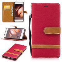Jeany textilné/PU kožené puzdro na Huawei P10 - červené