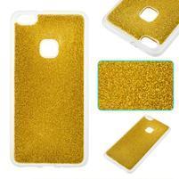 Trblietavý gélový obal s vystuženým obvodom na Huawei P10 Lite - zlatý